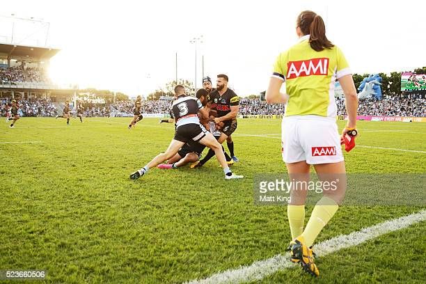 Valentine Holmes of the Sharks is tackled during the round eight NRL match between the Cronulla Sharks and the Penrith Panthers at Southern Cross...