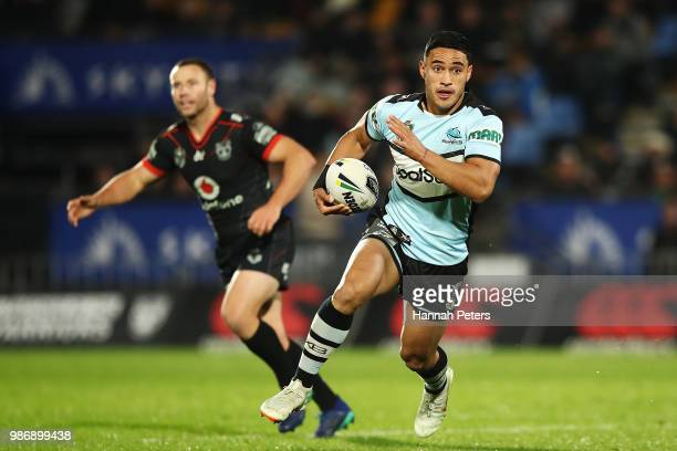 Valentine Holmes of the Sharks makes a break during the round 16 NRL match between the New Zealand Warriors and the Cronulla Sharks at Mt Smart...