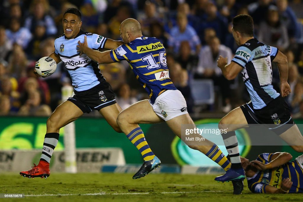 Valentine Holmes of the Sharks makes a break during the round nine NRL match between the Cronulla Sharks and the Parramatta Eels at Southern Cross Group Stadium on May 5, 2018 in Sydney, Australia.