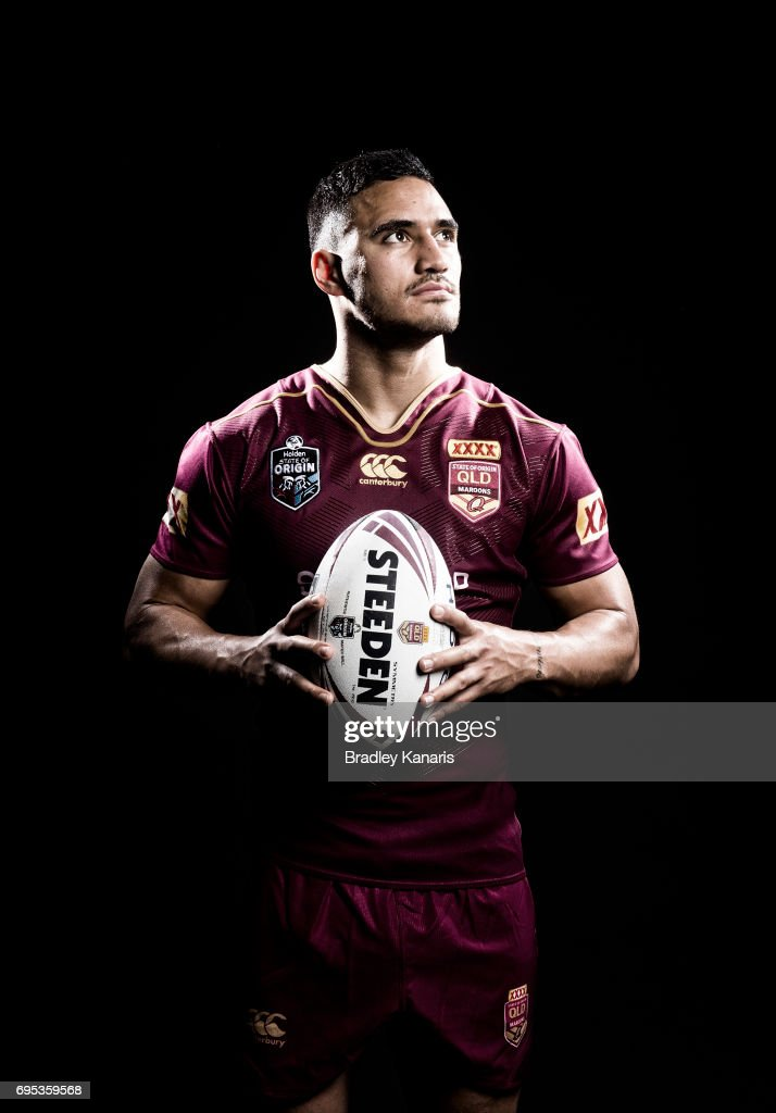 Valentine Holmes poses for a photo during a Queensland Maroons State of Origin media session at the Rydges Hotel on June 13, 2017 in Brisbane, Australia.