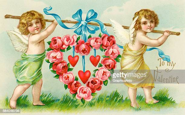 Valentine of two winged cherubs carrying a large heart made of pink roses 1902 Chromolithograph