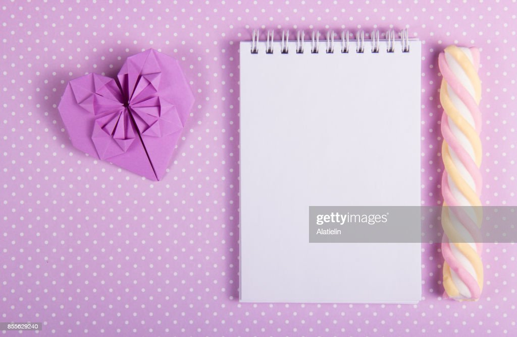 Valentine Origami Open Notebook With A Blank Page And Stick