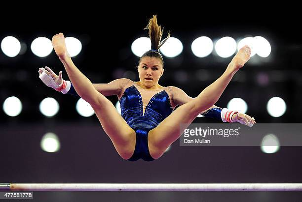 Valentine Pikul of France competes on the Uneven Bars in the Women's Individual AllAround final on day six of the Baku 2015 European Games at...