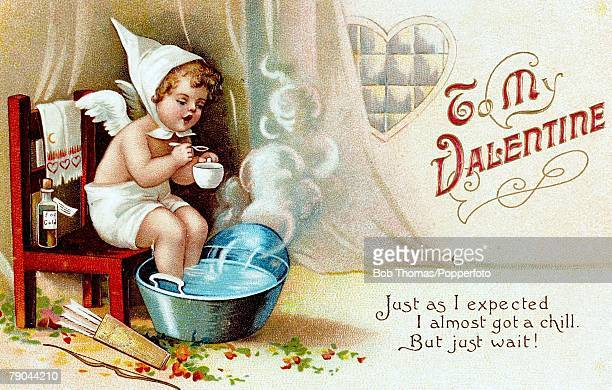 Valentine Postcards A colour illustration of a cherub who has a cold sitting with his feet in a hot tub of water whilst taking some medcine