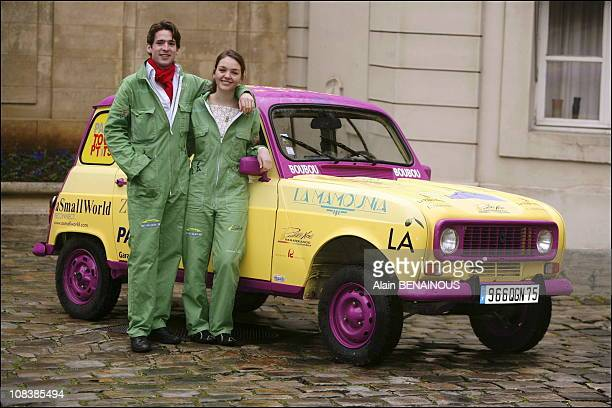 Valentine Pozzo Di Borgho and Charles of The tour d' Auvergne take part in the race TangerMarrakech by Renault 4L in Paris France on February 15 2006