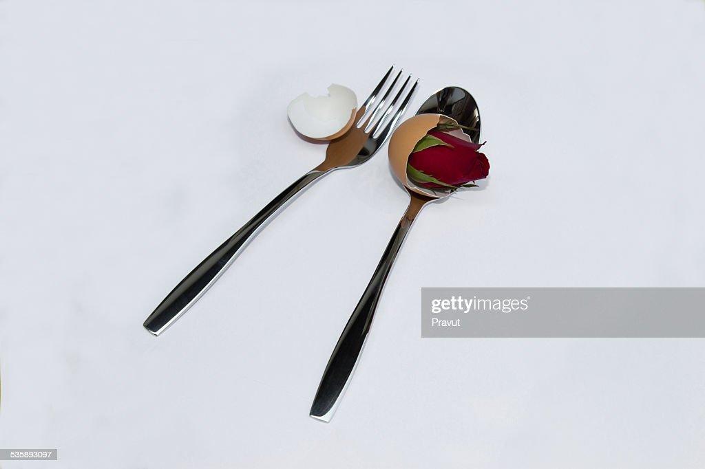 Valentinstag, Hochzeit, Liebe, Löffel, Rose Blume : Stock-Foto
