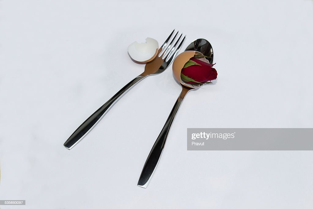 Valentine,love,wedding,spoon,Rose,flower : Stock Photo