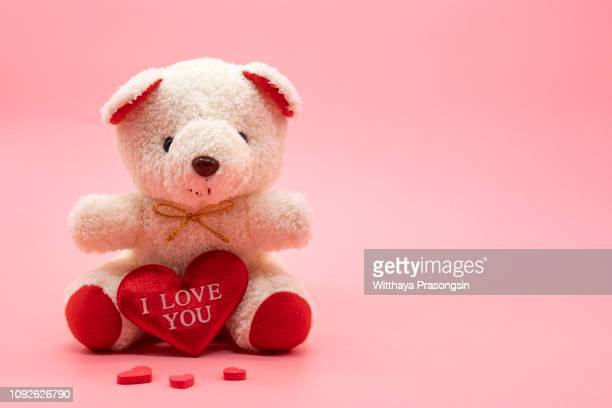 valentines and teddy bear - image - day stock pictures, royalty-free photos & images