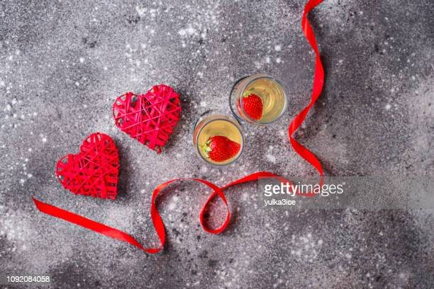 valentines day background champagne with strawberry