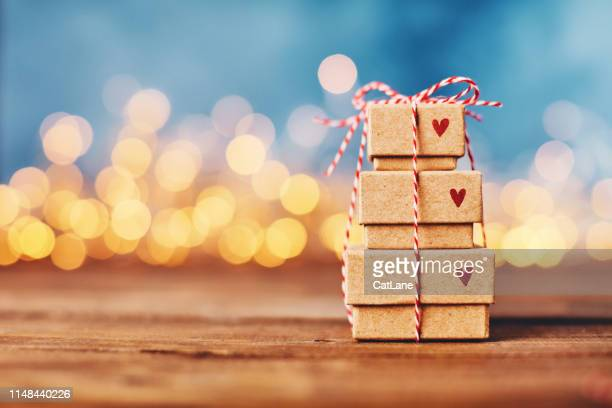 valentine's day background with gift stack - valentine's day holiday stock pictures, royalty-free photos & images