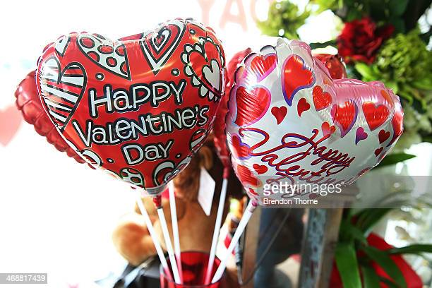 Valentine's Day ballons are displayed inside a florist as Sydneysiders prepare for Valentine's Day on February 12 2014 in Sydney Australia St...
