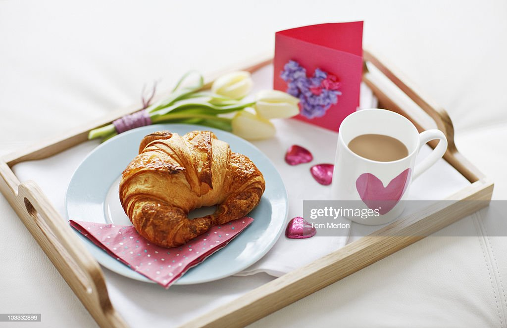 Valentine's Day breakfast tray : Stock Photo