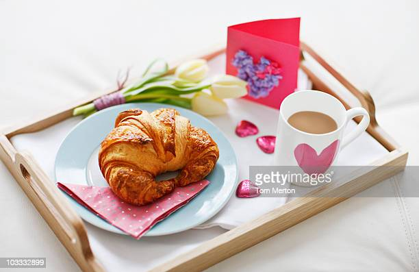 valentine's day breakfast tray - mother's day stock pictures, royalty-free photos & images