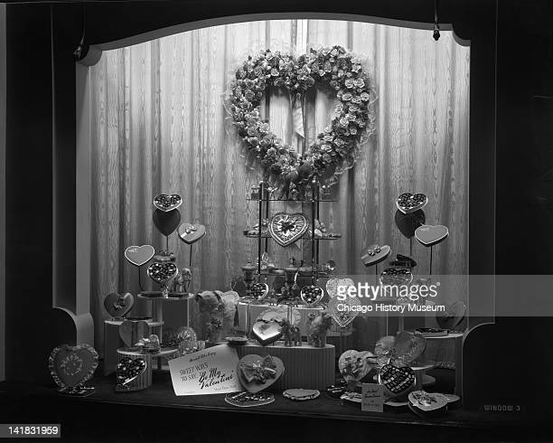Valentine's Day Candy Window Display in Marshall Field & Company, Chicago, Illinois, February 15, 1943.