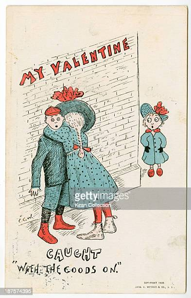 A Valentine's Day card depicting a startledlooking boy being embraced by a girl as another younger girl looks on in surprise The card was posted in...
