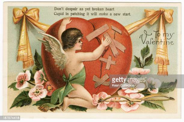 A Valentine's Day card depicting Cupid mending a broken heart The card was posted in Lebanon Pennsylvania USA 13th February 1909 The text reads 'To...