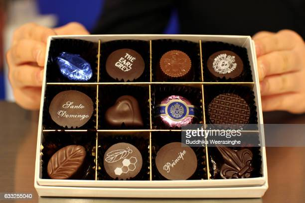 Valentine's Day chocolate box is pictured at a Hankyu Department Store on February 1 2017 in Osaka Japan The Hankyu department Store has opened...