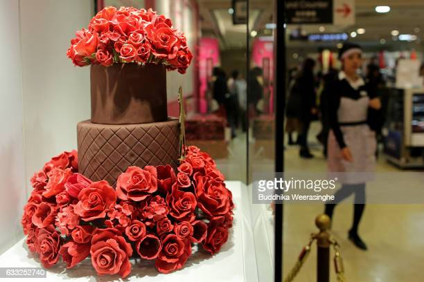 Valentine's Day chocolate cake with red roses is pictured at a Takashimaya Department Store on February 1 2017 in Osaka Japan The Takashimaya...