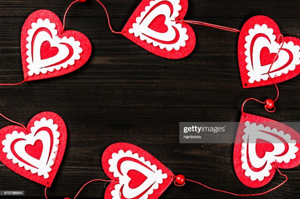Valentines Day Concept Dark Wooden Background For Design To