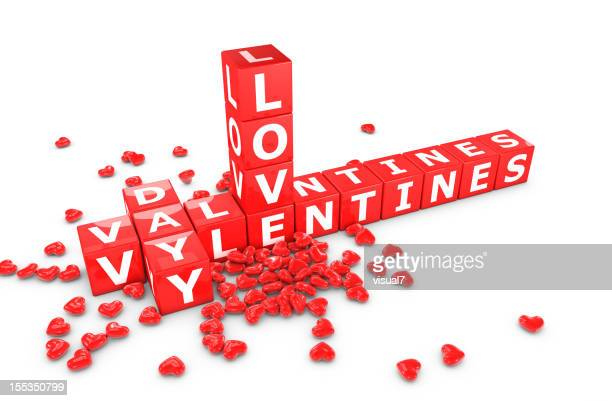Valentine's day crossword with red hearts