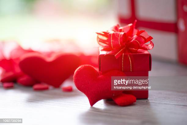 valentine's day gift box,christmas gifts - heart month stock photos and pictures