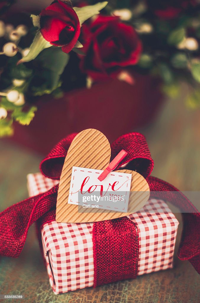 Valentines Day Gift With Love You Message High Res Stock
