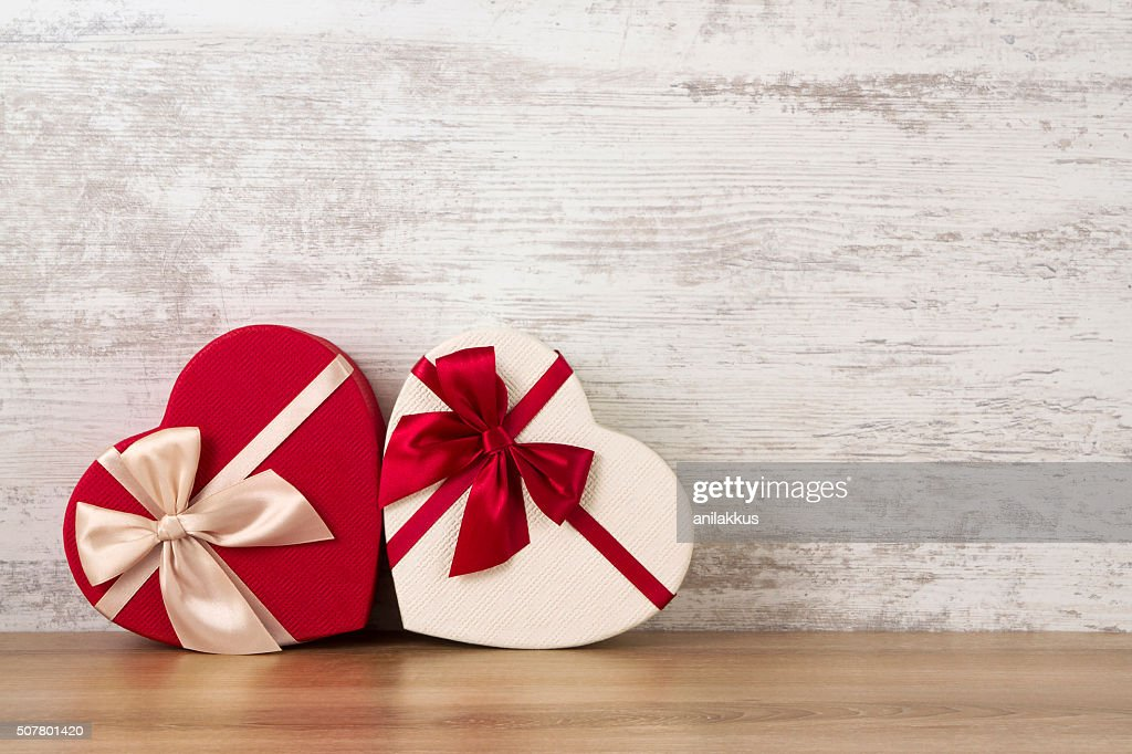 Valentine's Day Gifts Against Rustic Background : Stock Photo