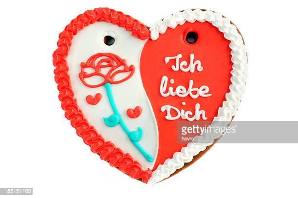 Valentinstag gingerbread cookie Herz mit Ich liebe Dich