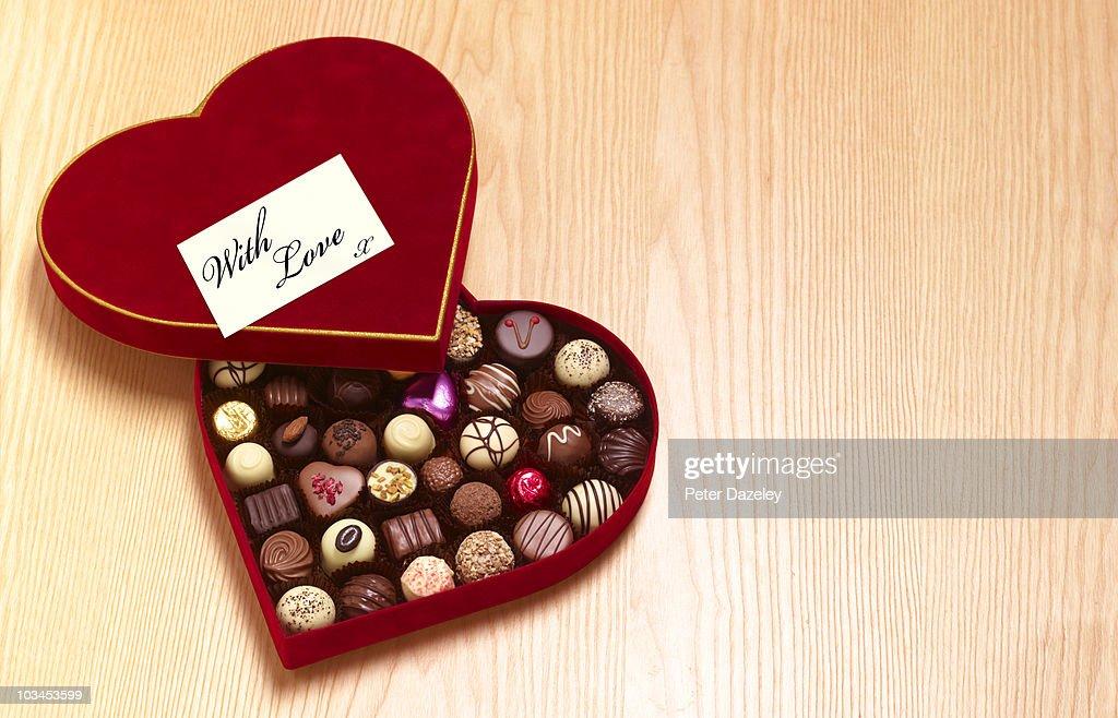 Valentines day heart shaped chocolates : Stock Photo