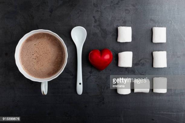 valentine's day hot chocolate knolling style - february stock pictures, royalty-free photos & images