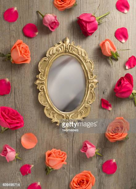valentine's day - mirror frame stock photos and pictures