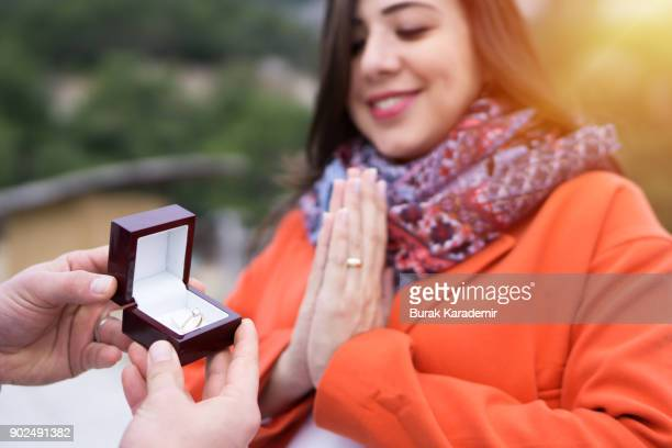 valentine's day - engagement ring box stock photos and pictures