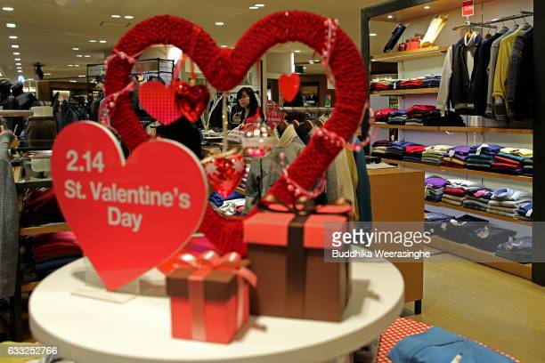 Valentine's Day sign is pictured on the men's suit floor at the Hankyu Department Store on February 1 2017 in Osaka Japan The Hankyu department Store...