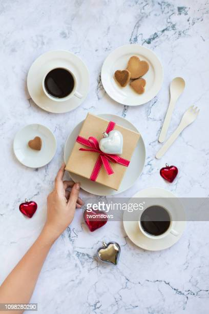valentine's day snack and coffee time concept still life. - chinese mothers day stock pictures, royalty-free photos & images