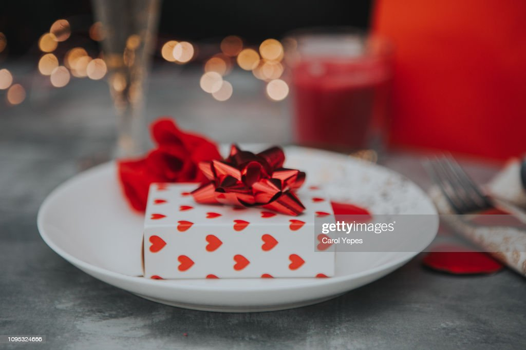 Valentines day table place setting : Stock Photo