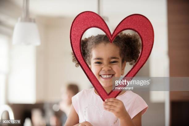 valentine's day with multi-ethnic family - children only stock pictures, royalty-free photos & images