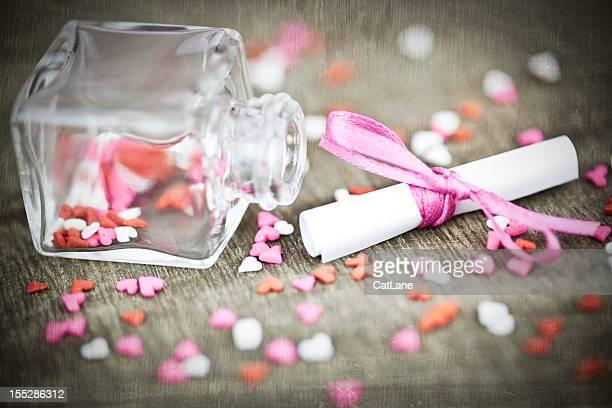 Valentine s Message dans une bouteille