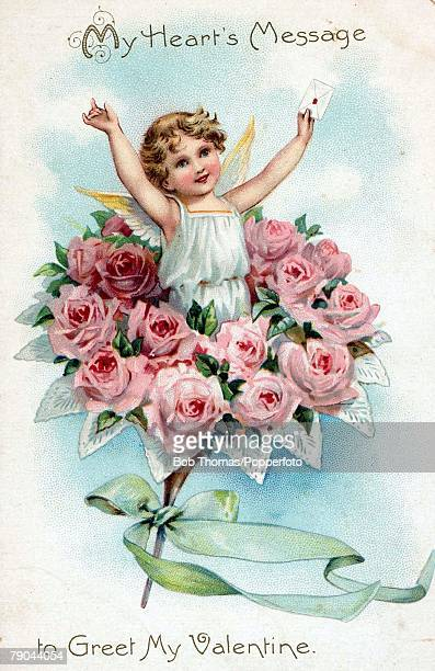 Valentines Postcards A colour illustration of a small cherub holding up a love letter whilst standing amongst some flowers