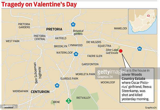 Valentines Tragedy a graphic illustrating a map of the location where Reeva Steenkamp was shot on Valentines Day 2013 Oscar Pistorius stands accused...
