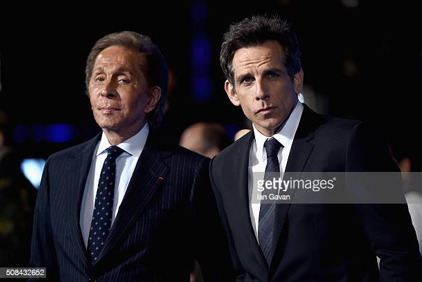 Valentino and Ben Stiller attend a London Fan Screening of the Paramount Pictures film Zoolander No 2 at the Empire Leicester Square on February 4...