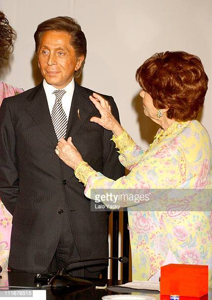 Valentino and guest during Valentino And Manuel Pertegaz Receive The Golden Needle Award at Suit Museum in Madrid Spain