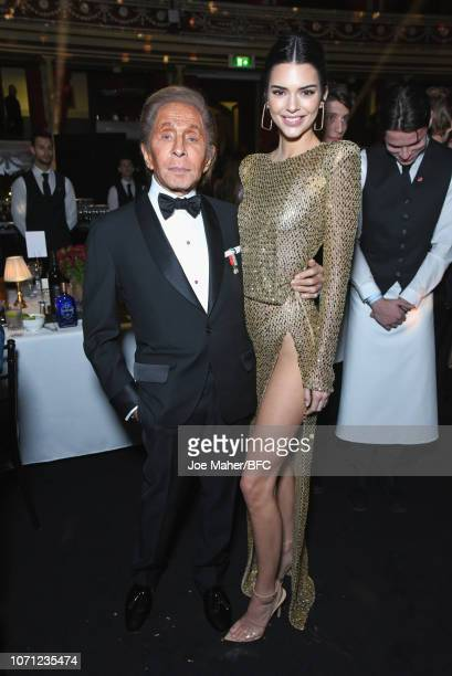 Valentino and Kendall Jenner attend The Fashion Awards 2018 In Partnership With Swarovski at Royal Albert Hall on December 10, 2018 in London,...