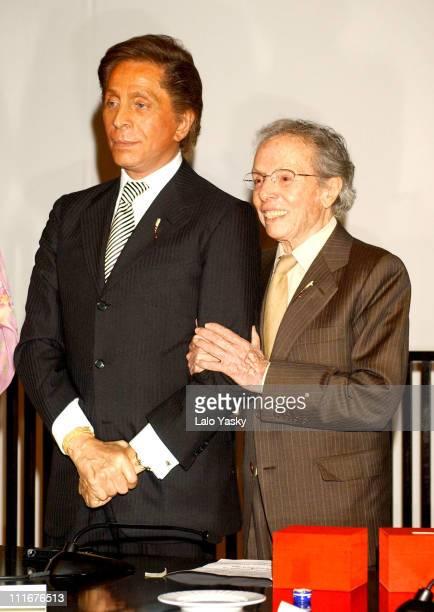 Valentino and Manuel Pertegaz during Valentino And Manuel Pertegaz Receive The Golden Needle Award at Suit Museum in Madrid Spain