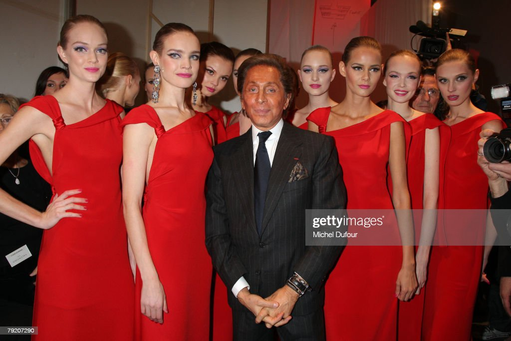 Valentino and Natalia Vodianova walk with models on the catwalk for final at the Valentino Fashion show, during Paris Fashion Week (Haute Couture) Spring-Summer 2008 on January 23, 2008 at Musee Rodin in Paris, France.