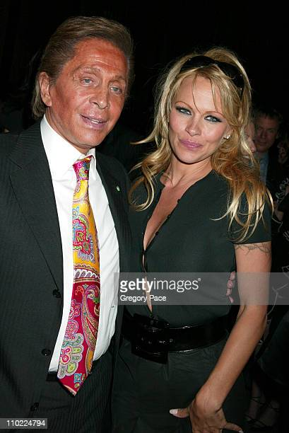 Valentino and Pamela Anderson during Valentino Fragrance Launch Party For Valentino V at Four Seasons in New York City New York United States
