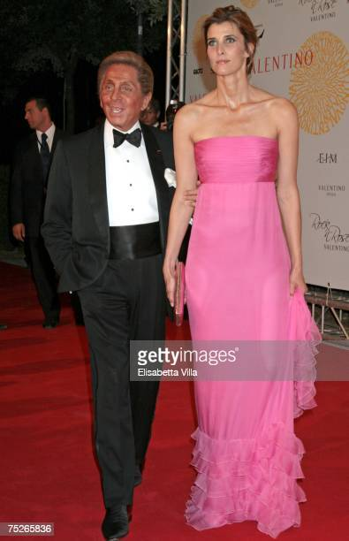 Valentino and Rosario Nadal arrive at the post haute couture show gala dinner and ball in the Parco dei Daini at the Villa Borghese on July 7 2007 in...
