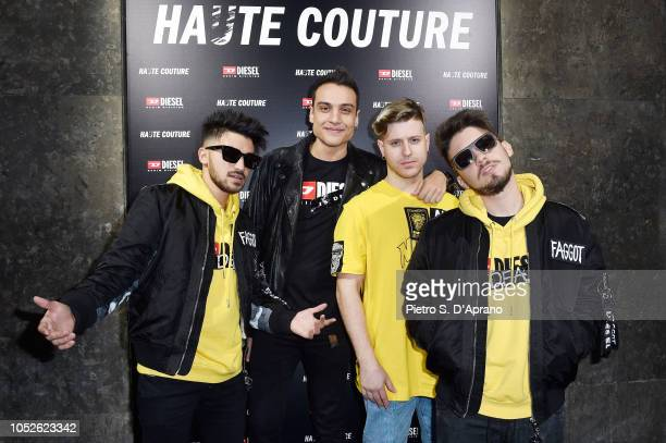 Valentino Bisegna Simone Paciello Riccardo Dose and Matteo Pelusi attend Diesel Haute Couture by Fedez on October 20 2018 in Milan Italy