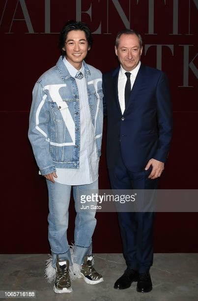 Valentino CEO Stefano Sassi and actor Dean Fujioka attend the photocall for Valentino TKY 2019 Pre-Fall Collection at Terada Warehouse on November...