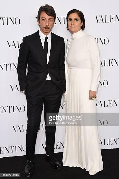 Valentino Creative Directors Pierpaolo Piccioli and Maria Grazia Chiuru attend the Valentino Sala Bianca 945 Event on December 10 2014 in New York...