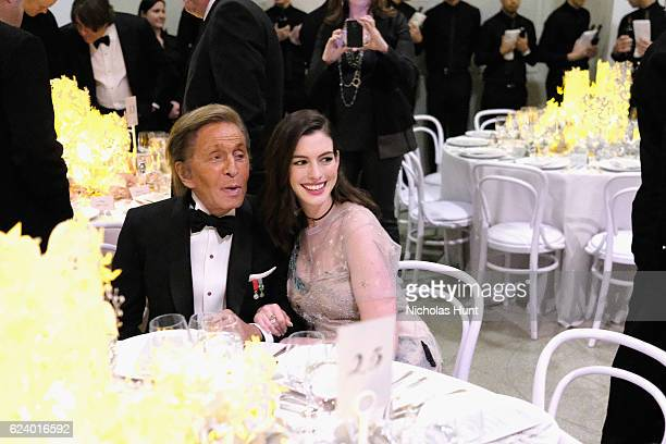 Valentino Garavani and Anne Hathaway attend the 2016 Guggenheim International Gala Made Possible By Dior at Solomon R Guggenheim Museum on November...